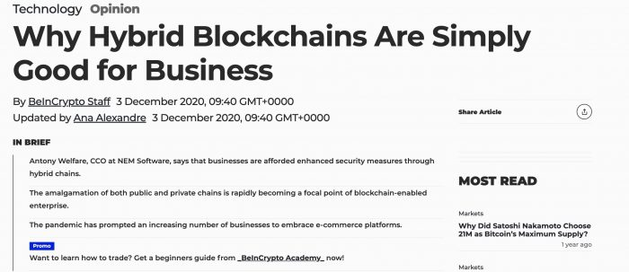 Why Hybrid Blockchains Are Simply Good for Business